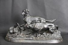 Extraordinary antique Russian sculpture of DOGS hunting (1957)