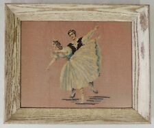"""Framed With Glass 14"""" x 17"""" Needlepoint Ballet Dancers"""