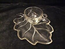 Vintage Brown Lynch Scott Company LEAF SNACK PLATE & CUP Glass SANDWICH SET
