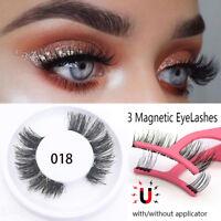 SKONHED 4 Pcs 3D Magnetic False Eyelashes Natural Long Eye Lashes & Applicator