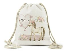 Personalised Drawstring Bag, Girls Horse, Pony School PE Dance Bag Book Bag