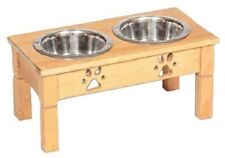 """Medium 10"""" Table Top Dog Feeder Handmade Elevated Stand & 2Qt Bowls Unfinished"""