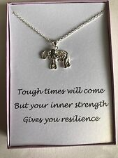 Silver Plated Elephant Pendant Necklace w/ poem