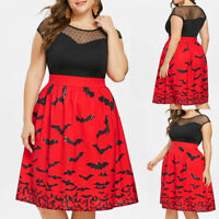 Women Halloween Party Bat Print Retro Lace Sleeveless Vintage Swing Dresses Hot