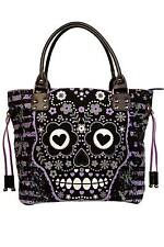 Banned Apparel Purple Sugar Skull Shoulder Bag Purse Goth Punk Lady BBN760BLK