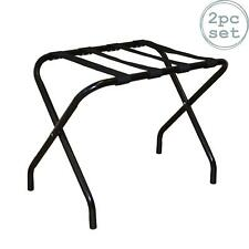 2x Folding Black Metal Luggage Rack Suitcase Stand Hotel Travel Bag Storage