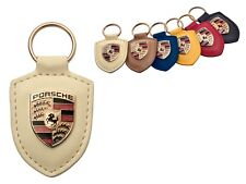 Porsche Original Off White Leather Key Fob with Colour Crest in Presentation Box