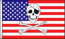 pirata Jolly Roger CRANIO E OSSA INCROCIATE SU USA STELLE E STRISCE 5'x 3'