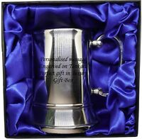 Tankard Mug Stainless Steel Engraved free - Luxury Gift Box red or blue