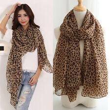 Lady Women Flat Large Print Leopard Animal Print Chiffon Scarf Shawl Stole Wrap