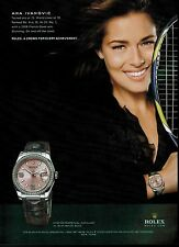 2009 ANA IVANOVIC for  ROLEX  Oyster Perpetual   Magazine Print AD