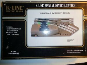 K-LINE O & 027 GAUGE RIGHT HAND MANUAL SWITCH  K-264, WITH ORIGINAL BOX  5-0-5