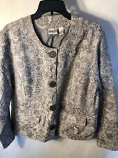Chicos Jacket Women's Size 2 Gray Button Down Used