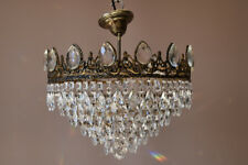 SALE Antique FLUSH PENDANT French Crystal Chandelier Wedding Cake Chandeliers
