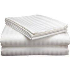 6 Piece King Size White Striped 1500 Thread Count Sheet Set 100% Egyptian Cotton