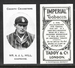 NOSTALGIA REPRINT TADDY & CO A.J.L.HILL HAMPSHIRE COUNTY CRICKETERS