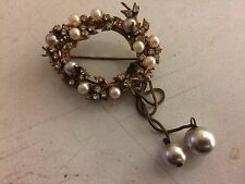 VTG Signed Miriam Haskell Pin/Brooch Gold Clear Rhinestones Faux Baroque Pearls