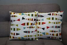 Cushion cover handmade set of 2 16''x16'' cotton colourful striped fish pattern