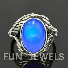 New Vintage Sterling Silver Leaf Oval Mood Ring Multi Color Change retro