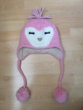 NEW DEBENHAMS GIRLS OWL HEART PINK WINTER HAT WITH POM POMS TO FIT 9-10