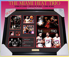 THE MIAMI HEAT TRIO SIGNED MEMORABILIA FRAMED LIMITED EDITION 499 ONLY w/ C.O.A