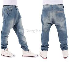 """Nappy Boys Mens Drop Crotch Santiago Tapered Blue Star Jeans Time Money G Is Hip W44 Regular-approx 32"""""""