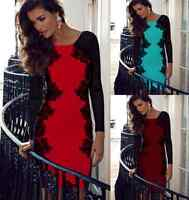 DS03 Womens Ladies Long Sleeve Sexy Lace Bodycon Evening Party Cocktail Dress