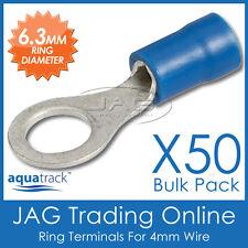 50 x BLUE INSULATED RING CRIMP TERMINALS 6.3mm HOLE / CABLE CONNECTORS 4mm WIRE