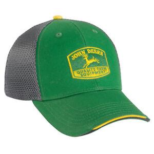JOHN DEERE *GREEN & GREY SPORT MESH* FITTED CAP HAT *BRAND NEW*