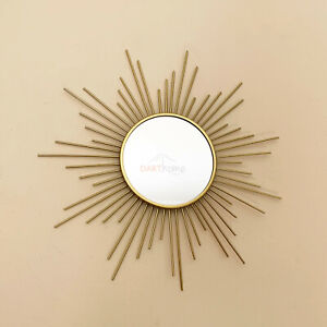 Vintage Gold Metal Frame Sunburst Home Decorative Round Glass Wall Mirror Small
