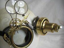 Pro Steampunk Safety Goggles Clockwork Brass Gears Lab Cosplay 7.5X X2 20X LED