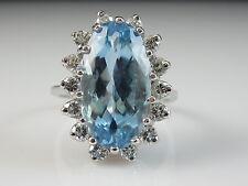 14K Aquamarine Diamond Ring White Gold Oval Fine Jewelry Estate Size 6 $5000