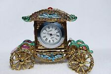 SWAROVSKI CRYSTAL BEJEWELED ENAMEL HINGED TRINKET BOX -PRINCESS CARRIAGE CLOCK