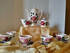 Vintage Ceramic Floral Teapot Sugar Creamer & Set Of 6 Cups N Saucers