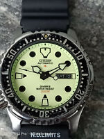 VERY RARE CITIZEN PROMASTER FULL LUMINOUS FACE AUTOMATIC MENS WATCH NY0040 9W