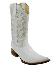 Men's Genuine Leather Plain Western Cowboy 3x Boots