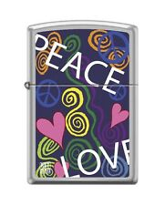 Zippo 205 Peace & Love Pink Hearts RARE Lighter