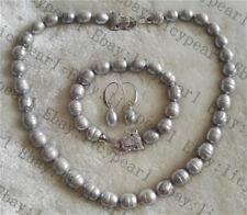 nice 10-11mm grau Barock Süßwasser Perlenkette Armband Ohrring Tiger Kopf Spange