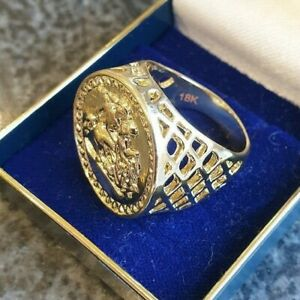 18ct HALLMARKED 18K ROLLED GOLD FULL SOVEREIGN STYLE RING ST GEORGE SIZE S