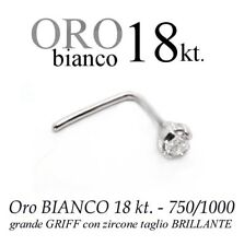 Piercing da naso nose ORO BIANCO 18kt. GRANDE griff ZIRCONE swarovsky white GOLD