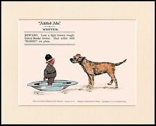 BORDER TERRIER AND POLICEMAN GREAT COMIC DOG PRINT MOUNTED READY TO FRAME