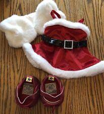 Build A Bear Christmas Holiday Santa Dress Jacket Glitter Shoes T22