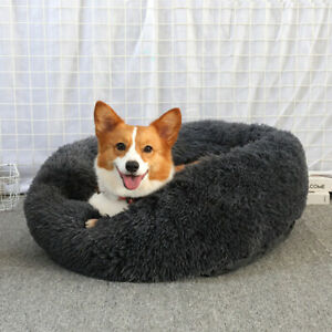 Plush Soft Donut Bed Nest Kennel Fluffy Warm Calming Sleeping Bed Pet Dog Cat