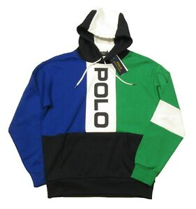 Polo Ralph Lauren Big & Tall Blue Multi Colorblock Logo Mesh Pullover Hoodie