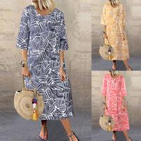 ZANZEA Women 3/4 Sleeve Floral Printed Maxi Dress Casual Baggy Sundress Kaftan