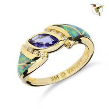 "Tanzanite, Black Opal and Diamond ""Kabana"" Ring in 14k Solid Yellow Gold #2428"