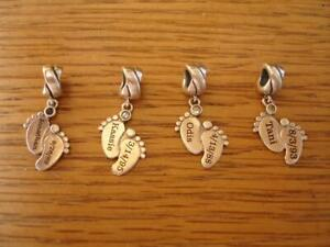 KAY JEWELERS CHARMED MEMORIES BABY'S FEET CHARMS 4 PIECE LOT STERLING SILVER RL
