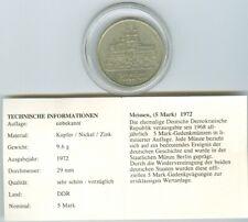 Gedenkmünze der DDR, Meissen 5 Mark, 1972