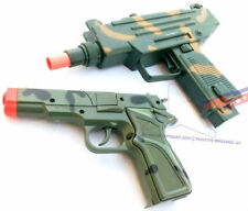 2X Toy Guns Military UZI Machine Gun Dart Pistol & Camo 9mm Cap Gun Set
