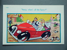 R&L Postcard: Brook Publishing Trow 11998 Honeymoon Man Drving Car Fast